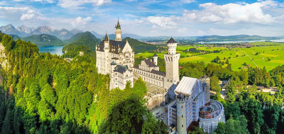 Neuschwanstein Castle in Fussen, Bavaria, Germany in a beautiful summer day