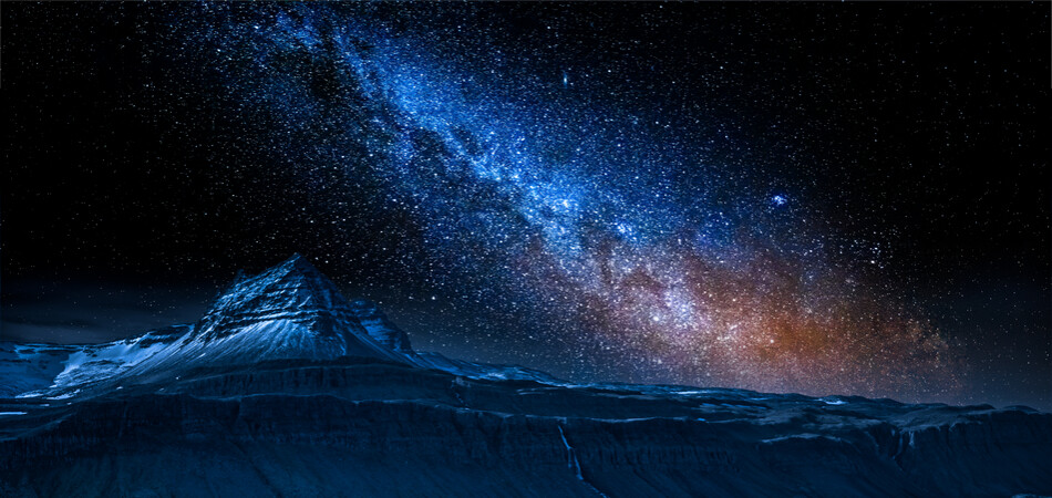 950x450 ORSH_Volcanic mountain and milky way over