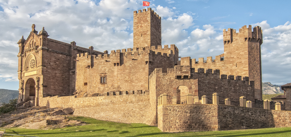 Javier Castle in perspective with a sky of clouds in Navarra, Spain