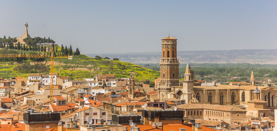 Cathedral tower in the skyline of Tudela, Spain