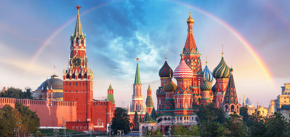 ORSH_Moscow - Panoramic view of the Red Square with Moscow Kremlin and St Basil's Cathedral with rainbow_950x450