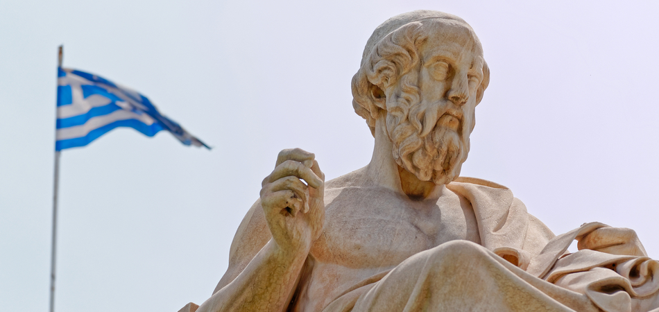 ORSH_Athens Greece, Plato the famous ancient Greek philosopher and a Greek flag blurred in the background_800x600