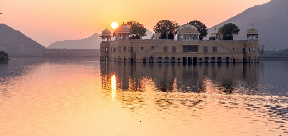 ORSH_Couple of ducks in the morning inside Man Sagar Lake, Jaipur, India with Jal Mahal palace in the background_950x450