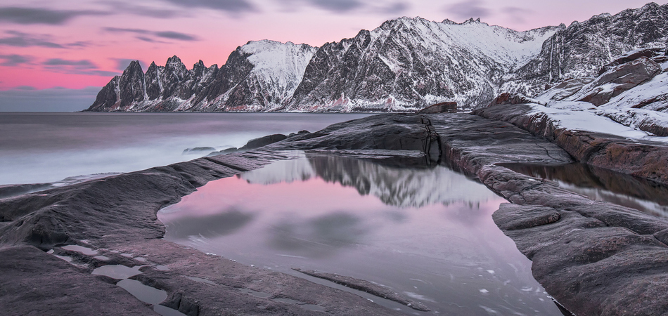 ORSH_Winter panoramic view to Steinfjord on Senja island in the sunset - Troms county, Norway (long exposure)_950x450