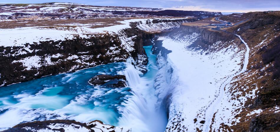 950x450 ORSH_Gullfoss waterfall in Winter(bird's e