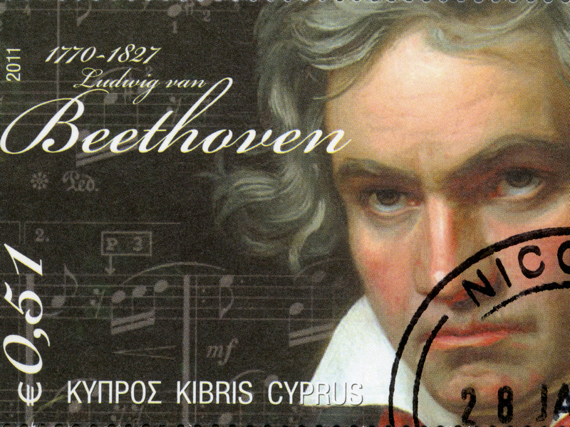 CYPRUS - CIRCA 2011 : A stamp printed in Cyprus shows Ludwig van Beethoven (1770-1827), circa 2011