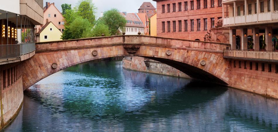 Fleisch Bridge view over the Pegnitz River in Nuremberg, Bavaria, Germany