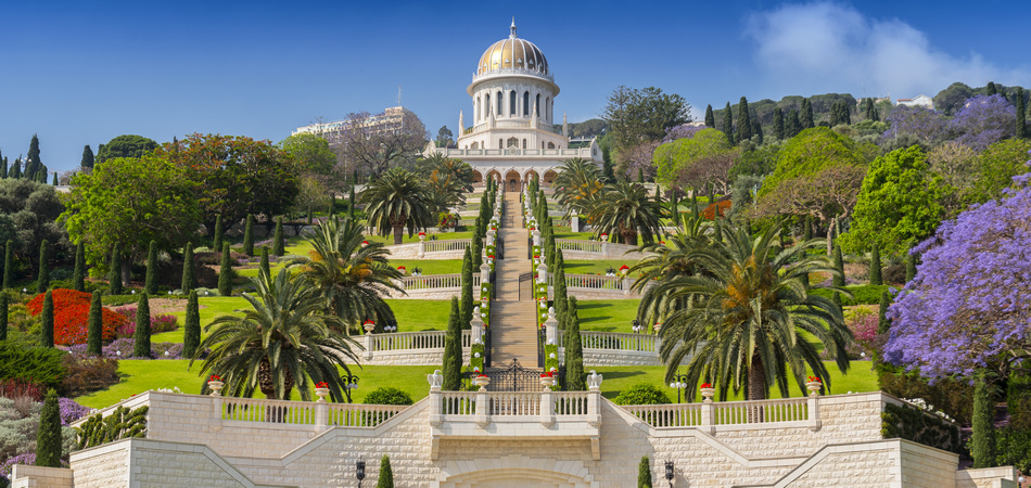 View of Bahai gardens and the Shrine of the Bab on mount Carmel in Haifa, Israel.