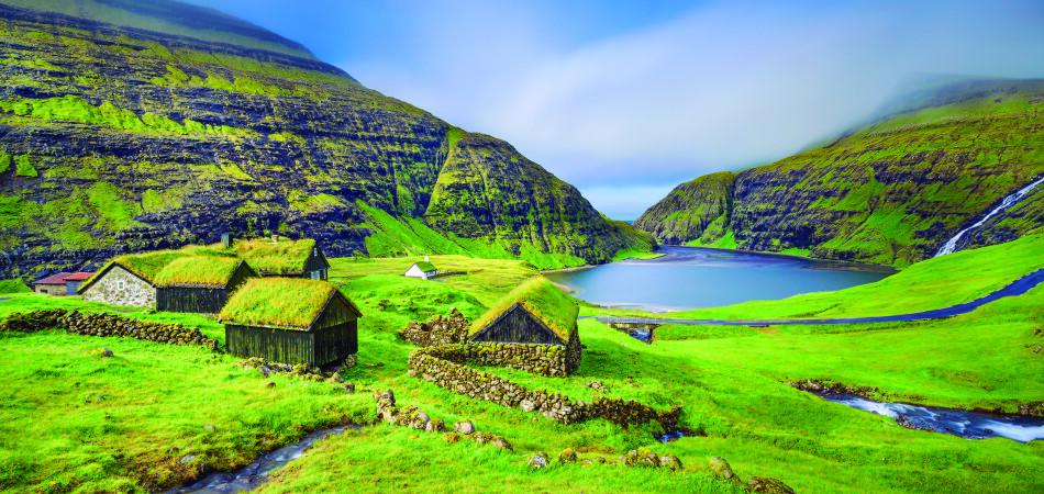 Village of Saksun located on the island of Streymoy, Faroe Islands, Denmark. Long exposure.