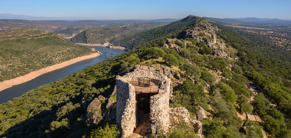 Tagus river in National Park of Monfrague, seen from the Castle, Caceres, Spain