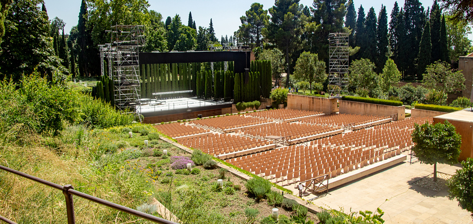 Empty summer theater concert auditorium hall without people at Generalife Gardens, Alhambra, Granada, Spain