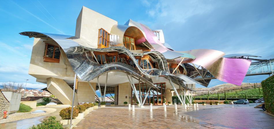 El ciego, Spain- January 10, 2014: Winery of Marques de Riscal on January 10, 2014 in Elciego, Basque Country, Spain. This modern winery was designed by world famous architect Frank Gehry. Produce one of the best wine of the world.
