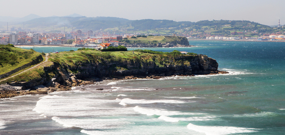 Coastline in Gijon, view to cliffs and ocean